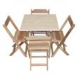 Conjunto Mesa 70x70 ( Cru ) Cm 4 Cadeiras Dobrável Madeira Maciça - Cia Bistrô 8818969