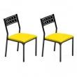 Kit 2 pçs Cadeira CM0200 Pintada - Mobizza - CM0200 - Preto / amarelo 8148029