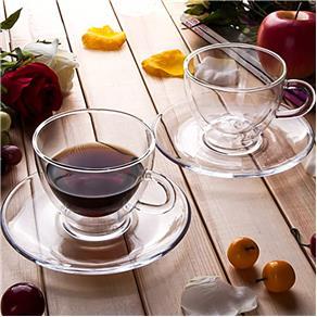 Conjunto de Xícaras para Chá ou Cappuccino em Vidro Duplo Com Pires 250 ml - 2 un. 6616503