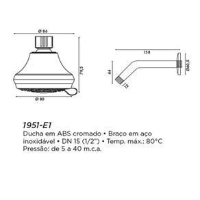 Ducha Redonda de Parede Classic Value Eternit Tradicional 1951 - E1 1 / 2`` 4906582