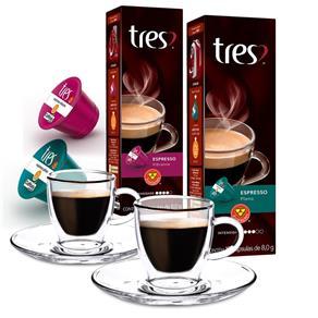 Kit 20 Cápsulas de Café Três Corações + 2 Xícaras para Café em Vidro Duplo 80ml 6783508
