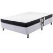 Cama Box Casal + Colchão Castor Black White 40x138x188 cm - Preto / Branco 1000041346