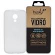 Capa + Película Vidro Moto G 2014 ( 2ª Geração ) Silicone TPU Premium - Husky - Transparente
