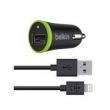 Carregador USB Veicular + Cabo Lightning Belkin
