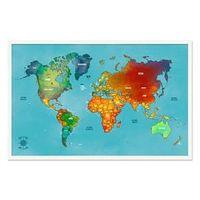 Quadro Mapa - Múndi Pinar Viagens 100x65cm Azul - Moldura Branca