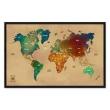 Quadro Mapa - Múndi Pinar Viagens 100x65cm Envelhecido - Moldura Preta