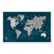 Quadro Mapa - Múndi Pinar Viagens 100x65cm Marinho - Moldura Branca