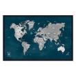 Quadro Mapa - Múndi Pinar Viagens 100x65cm Marinho - Moldura Preta