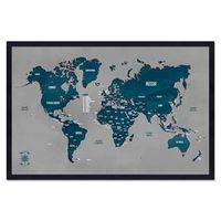 Quadro Mapa - Múndi Pinar Viagens 60x40cm Cinza - Moldura Preta