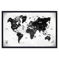 Quadro Mapa - Múndi Pinar Viagens 60x40cm P&B - Moldura Preta