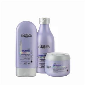 Kit Home L`Oreal Liss Unlimited - 3 Produtos - 150ml+250ml+200ml