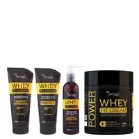 Power Whey Fit Cream Yenzah - Kit Shampoo + Condicionador + Leave - in + Máscara Kit