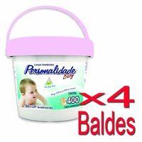Lenço Umedecido Personalidade Balde Rosa 400 Unidades - 4 Baldes