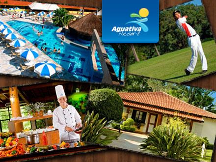 03 diárias no Aguativa Golf Resort para 02 pessoas e 01 criança de até 11 anos, com Pensão Completa, de 1.815,00 por 907,50.