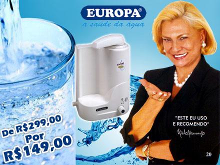 Chega de comprar água! Purificador de Água Europa By Hebe, de 299,00 por apenas 149,00. Parcele em até 12x*