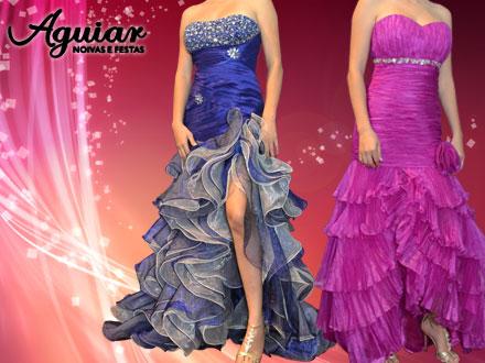 Para arrasar na sua formatura! Aluguel de vestido de festa, na Aguiar Noivas e Festas, de até 400,00 por 125,00.
