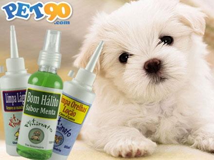 Kit Higiene para Cães e Gatos com Limpa Lágrimas 80ml + Limpa Orelhas 80ml + Bom Hálito Menta 100ml, de 55,70 por 24,90.
