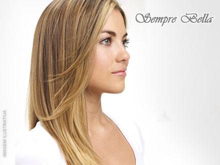 Escova Semi-Definitiva para Cabelos Loiros + Matizador na Sempre Bella, por apenas 75,00. Oferta para cabelos com até 40cm!