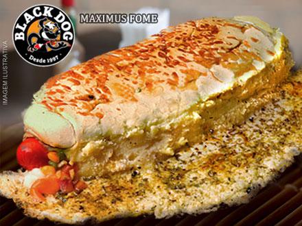 Maximus Fome: Lanche de 16cm + 11 ingredientes + Bônus* no Black Dog, por apenas 4,95.