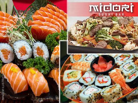 Rodízio Simples Individual no Midori Sushi Bar Unidade II, por apenas 22,90. Prepare seu hashi e venha saborear!