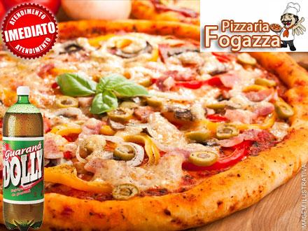 Escolha uma entre 9 Tipos de Pizzas do Cardápio + 1 Guaraná 2L + Borda Rechada Grátis na Pizzaria Fogazza, por apenas 9,99.