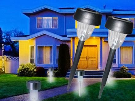 Luminária Solar Decorativa Pequena Ecoforce - Conjunto com 4 unidades, por apenas 59,90. Frete Fixo para todo o Brasil!