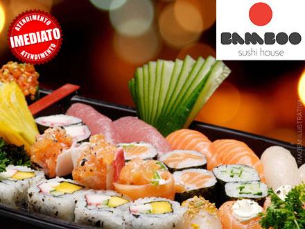 A sua melhor opção em comida japonesa está no Bamboo Sushi Bar! Combo com 46 Peças, por apenas 77,00.