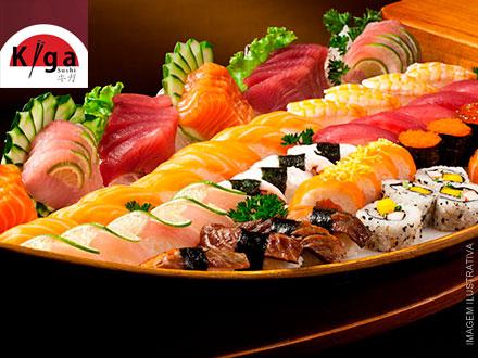 Combinado Kiga Salmão Especial! 44 Peças no Kiga Sushi do Boulevard Shopping Nações, de 75,90 por 44,90. Serve até 3 pessoas!