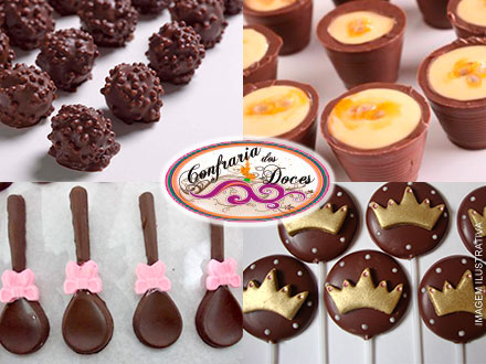 Kit Festa: Mini Bombons Crocantes + Copinhos de Chocolate + Colherzinhas de Chocolate + Pirulitos + Brindes, a partir de 79,90.