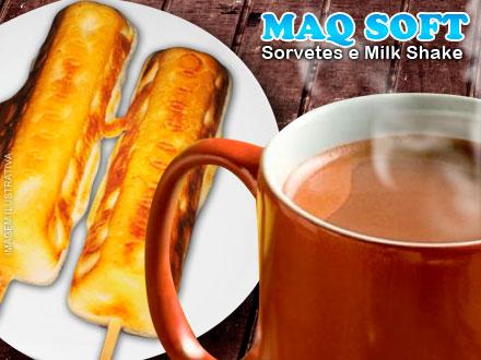 Combina com o frio! Pão de Queijo no Palito + Chocolate Quente Cremoso na Sorveteria Maq Soft, por apenas 3,75.