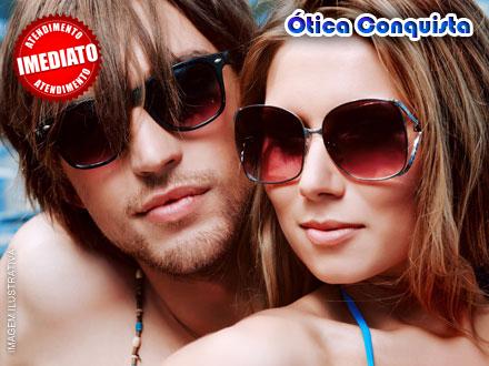 Crédito para a Compra de Óculos de Grau (Armação + Lente) ou Óculos de Sol na Ótica Conquista, de 220,00 apenas 18,00.
