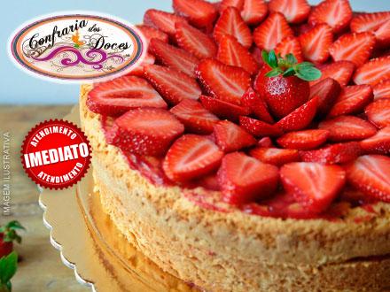 Torta Mousse de Morango, Maracuja ou Limão na Confraria dos Doces, de 45,00 por apenas 19,90.