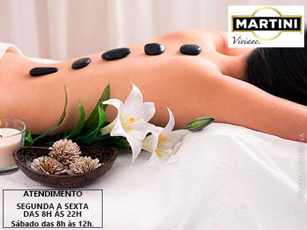 Massagem Relaxante + Pedras Quentes + Esfoliação + Esteira Vibratória na Viviane Martini Estética, por apenas 24,90.