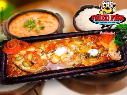 Peixe na Telha sem Espinha + Acompanhamentos no Fried Fish Restaurante, de 79,80 por apenas 39,90. Serve 2 pessoas!