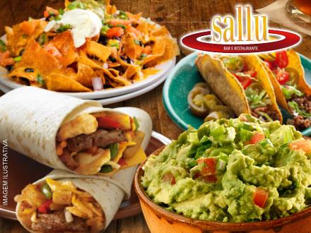 Combinado Mexicano (2 Burritos, 2 Tacos, 2 Quesadillas, Nachos, Guacamole e Sour Cream) de 70,00 por 34,90. Serve 2 pessoas!