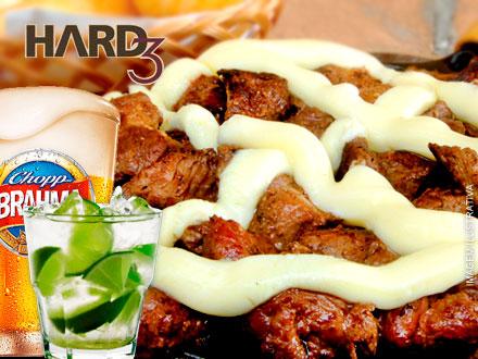 Iscas de Filé Mignon do Hard 3 a sua escolha! Empanada ou Grelhada (7 molhos a escolher) + Caipiroska + Chopp Brahma: 45,90.