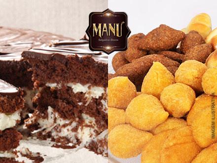 Kit Festa da Manu para 70 pessoas com Bolo de 5Kg + 700 Salgados, por apenas 239,90.