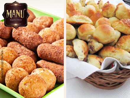 Cento de Salgados Fritos ou Assados (8 Opções) da Manu Salgados e Doces, por apenas 24,90.