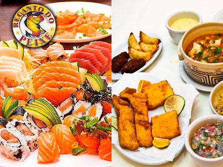 Almoço Especial nesse DOMINGO para 2 Pessoas! Almoço Completo+ Rodízio de Peixes no Recando do Peixe, por 49,99.