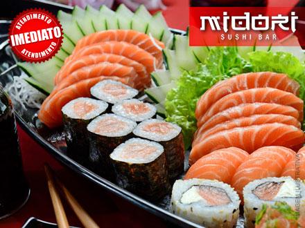 Combo de Sushi e Sashimi com 60 peças (Serve até 3 pessoas) no Midori Sushi Bar, de 80,00 por apenas 39,99.
