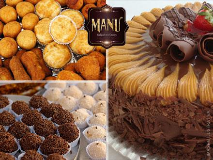 Kit Festa com Torta de 3Kg + 300 Salgados diversos da Manu Salgados e Doces, por apenas 174,60.