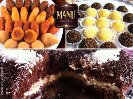 Kit Festa com Torta de 2 kg + 200 Salgados da Manu Salgados e Doces, por apenas 117,60.