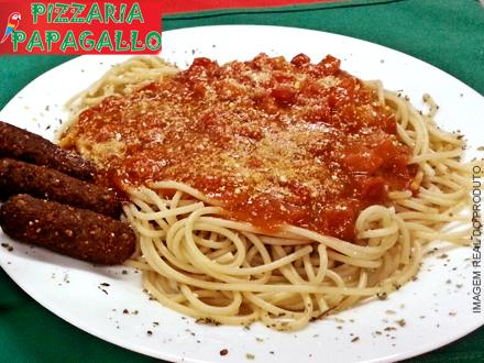 Escolha sua Massa Individual: Pene, Talharim, Parafuso ou Spaguete + Molho (2 Opções) na Pizzaria Papagallo, de 18,90 por 9,90.