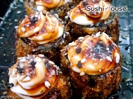 Porção com 20 Hot Rolls de Salmão no Sushi House, por apenas 12,00. Cupons limitadíssimos!