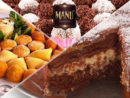 Kit Festa para 35 Pessoas com Torta de 2,5Kg + 400 Salgadinhos (Fritos ou Assados) + 100 Docinhos, por 159,90.