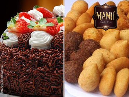 Kit Festa com Torta de 4 Kg + 400 Salgados Diversos da Manu Salgados, por apenas 230,40.