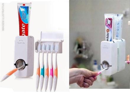 Desperdício Zero! Dispenser de Creme Dental + Porta Escovas por apenas 65,90. Frete Grátis!