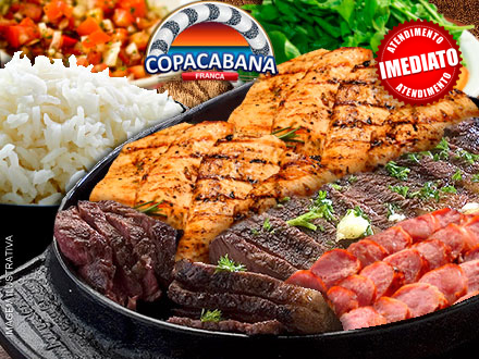 Choperia Copacabana oferece: Tábua Carioca de Carnes + Acompanhamentos, por apenas 33,99. Serve 3 pessoas!