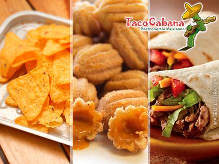 Taco Cabana! Combo Nachos + Molhos + 2 Burritos de Frango + 1 Taco de Pernil + 1 Taco de Carne + Porção de Mini Churros: 53,70.