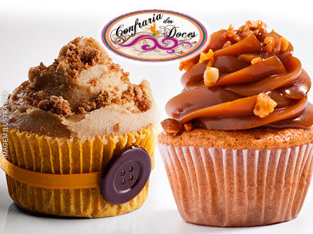 Cupcake nos sabores de Amendoim ou Churros da Confraria dos Bolos e Doces por apenas 0,99 a unidade!